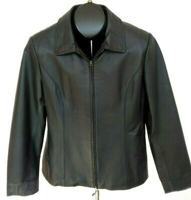 Worthington Black Genuine Leather Jacket/Coat/Blazer Zipper Front Woman's Size L