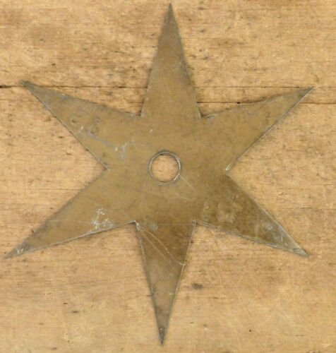 ANTIQUE Vtg PA TIN Quilt STAR Pattern Template SEWING Tool STUMPWORK Signed J.S.