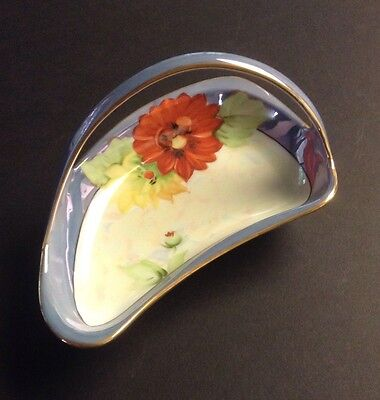 Vintage NORITAKE Hand Painted Leaf Lustre Iridescent Candy Dish W/ Handle