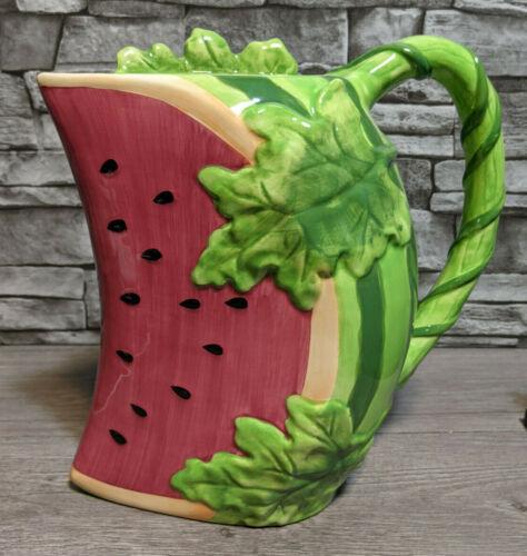 """Vintage Ceramic Watermelon Slice 10"""" Pitcher Summer Decoration Kitchen Figurine"""
