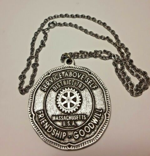 Vintage Rotary Medal Silver Necklace Service Above Self Massachusetts Rare