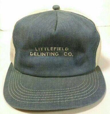 Vintage Hat Littlefield Delinting Americas Legend USA Made Denim Mesh Snapback