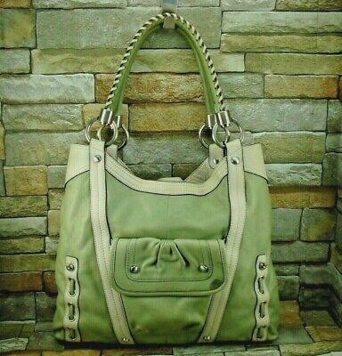 B. Makowsky Pale Green Pebbled Leather Double Handle Hobo Shoulder Bag Tote