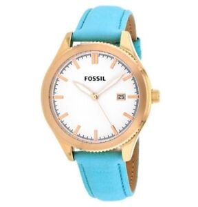 Fossil BQ3271 NEW Women's Rose Gold Aqua Teal Green Classic Leather band Watch
