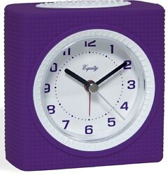 Purple Alarm Clock Quiet Sweep 2nd Hand Battery Powered La Crosse-21107