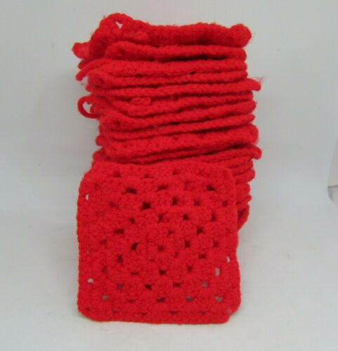 "Set (28) RED Crocheted GRANNY SQUARES, 4.5"" Square"