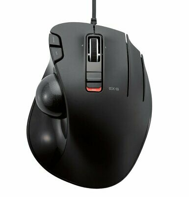 Elecom M Xt3Urbk Gaming Wired Trackball Mouse Grip 6 Button Black Thumb Operated