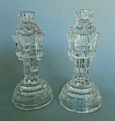 """Pair Of Crystal Nutcracker Candle Holders Christmas Holiday Decor 7.5"""" Tall"""