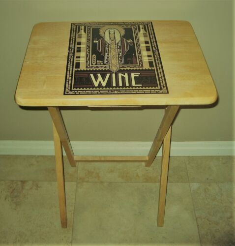 Amphictyonis Greek Goddess of Wine Wooden Folding Table One-of-a-Kind