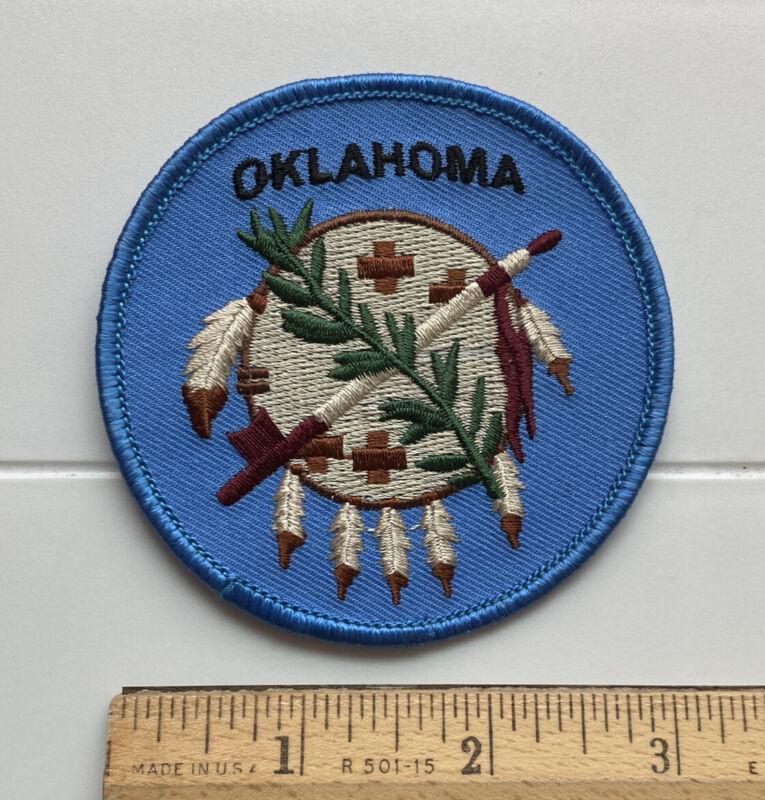 Oklahoma OK Buffalo Shield Blue Round Embroidered Patch Badge