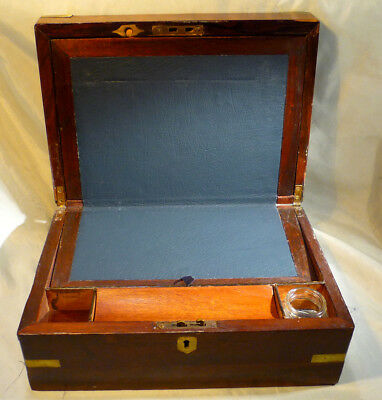 Antique Victorian Mahogany Writing Slope, Brass Bound Box, Ink Well,Blue Leather
