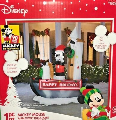 NEW 7 FT TALL DISNEY CHRISTMAS STEAMBOAT WILLIE MICKEY MOUSE INFLATABLE GEMMY
