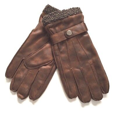 Brown Mens Faux Suede Leather Gloves Fall Winter Driving Fleece Lining Warm - Mens Suede Leather Glove