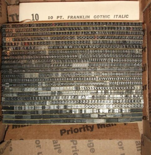 "VINTAGE 10pt ""FRANKLIN GOTHIC ITALIC"" FOUNDRY TYPE LETTERPRESS PRINTING ANTIQUE"