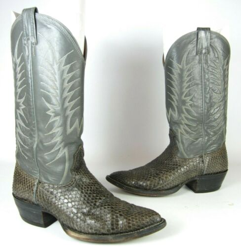 NOCONA, GRAY, SNAKESKIN, &, LEATHER, WESTERN, COWBOY, BOOTS, MENS, SHOE, SIZE, 7.5, D