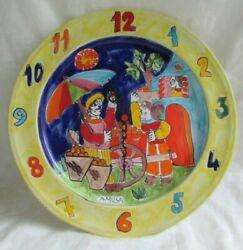 LA MUSA ITALIAN HAND PAINTED CERAMIC WALL CLOCK ART PLATE 14 3/4  ITALY