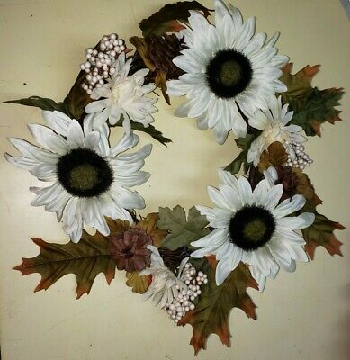 "Fall Wreath 14"" White Floral Autumn Harvest Wreath for Front Door"