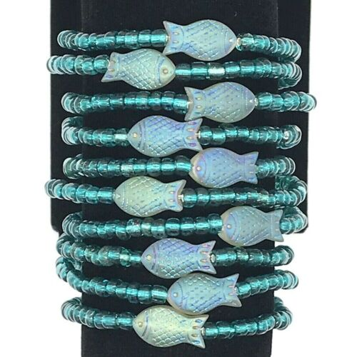 Wholesale Glass Fish Beaded Stretch Bracelets Handmade in the USA Lot of 10 NEW