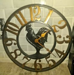 ROOSTER 14 KITCHEN CLOCK MODERN COUNTRY DECOR WROUGHT IRON LOOK