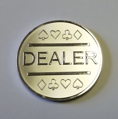 Silver Plated Metal Dealer Button in Case for Poker Games such as Texas Hold