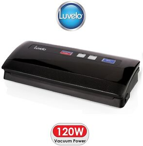 Luvelo equip Vacuum Food Sealer Saver - Gloss Black - Includes 24M of Bag Rolls