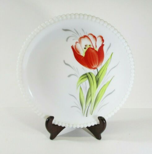 Vintage Westmoreland Milk Glass Hand Painted Beaded Plate Red Tulip