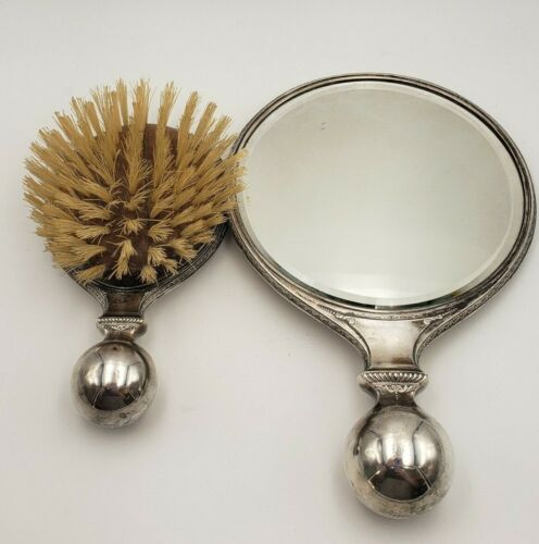 Deco by Wallace Sterling Silver Grooming Mirror & Brush w/ Ball Handles #7613