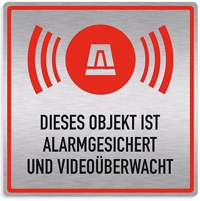 Schild alarmanlage, alarmgesichert, videoüberwacht, Aluverbund silber edle Optik