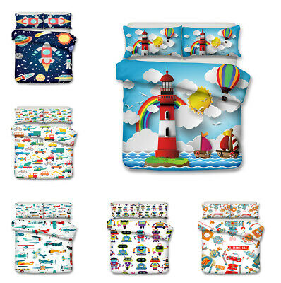 Transportation Robot Cartoon Bedding Sets~Kids Children Duvet Cover & Pillowcase ()