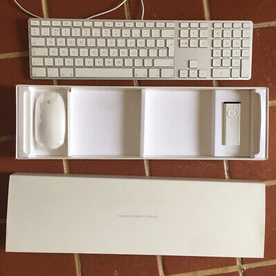 Apple A1243 Wired Aluminium Keyboard And Wireless Mouse Remote White Boxed