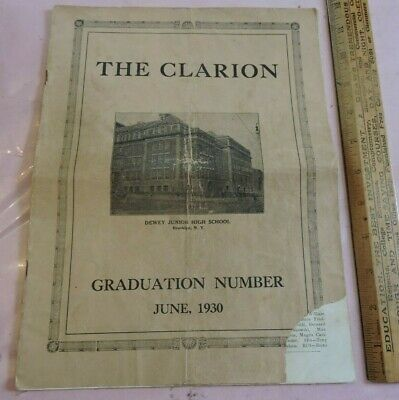 Orig 1930 The Clarion Dewer JHS Sunset Park Brooklyn Public School 22-page Book