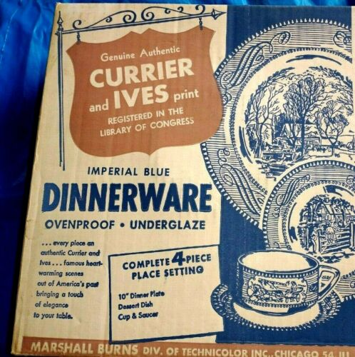 Currier And Ives Print Imperial Blue 4 Piece Dinnerware Place Setting New
