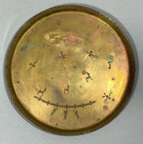 Vtg Antique Mendelssohn Etched Brass Tray Dragonflies Arts & Crafts Germany