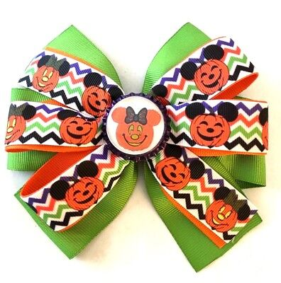 Beautiful Halloween Pumpkin with Mickey ears Inspired Hair Bow