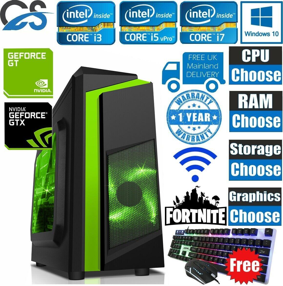 Computer Games - ULTRA FAST i3 i5 i7 Desktop Gaming Computer PC 2TB 16GB RAM GTX 1660 Windows 10