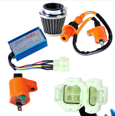 Ignition Coil + 6 Pin CDI Box + Air Filter Set for GY6 Scooter ATV Moped Go Kart