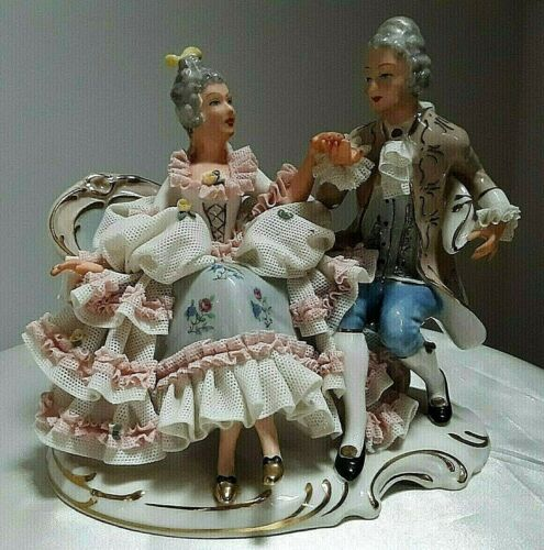 "Dresden Lace Figurine Gent and Lady 1771-1834 Handpainted Accents 6""h STUNNING!"