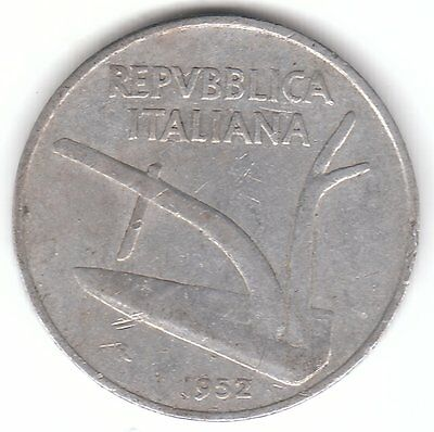 Italy 1952 10 Lire Aluminum Coin - Plough and Two Wheat Ears