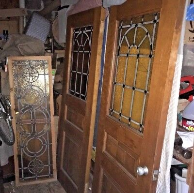 Century Stained Glass - 1 Mid Century Modern Amber Stained glass door 1960s 70s Architectural Salvage US