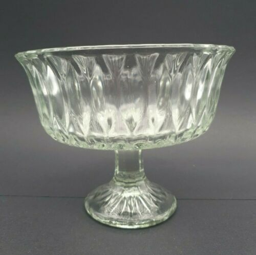 Vintage Hoosier Clear Glass Pedestal Compote Candy Dish Footed Marked HG 4052 7