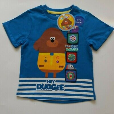 Boys Blue Hey Duggee Character Interactive Badge T Shirt Top 1 - 6 Years