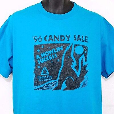 Camp Fire Boys And Girls T Shirt Vintage 90s 1996 Candy Sale Wolf Moon USA Large ()