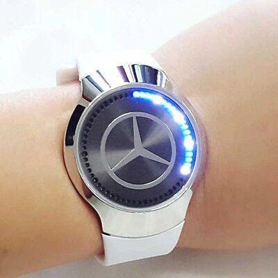 Herren Mercedes-Benz LED Uhr mit Silicon Armband. WEIß