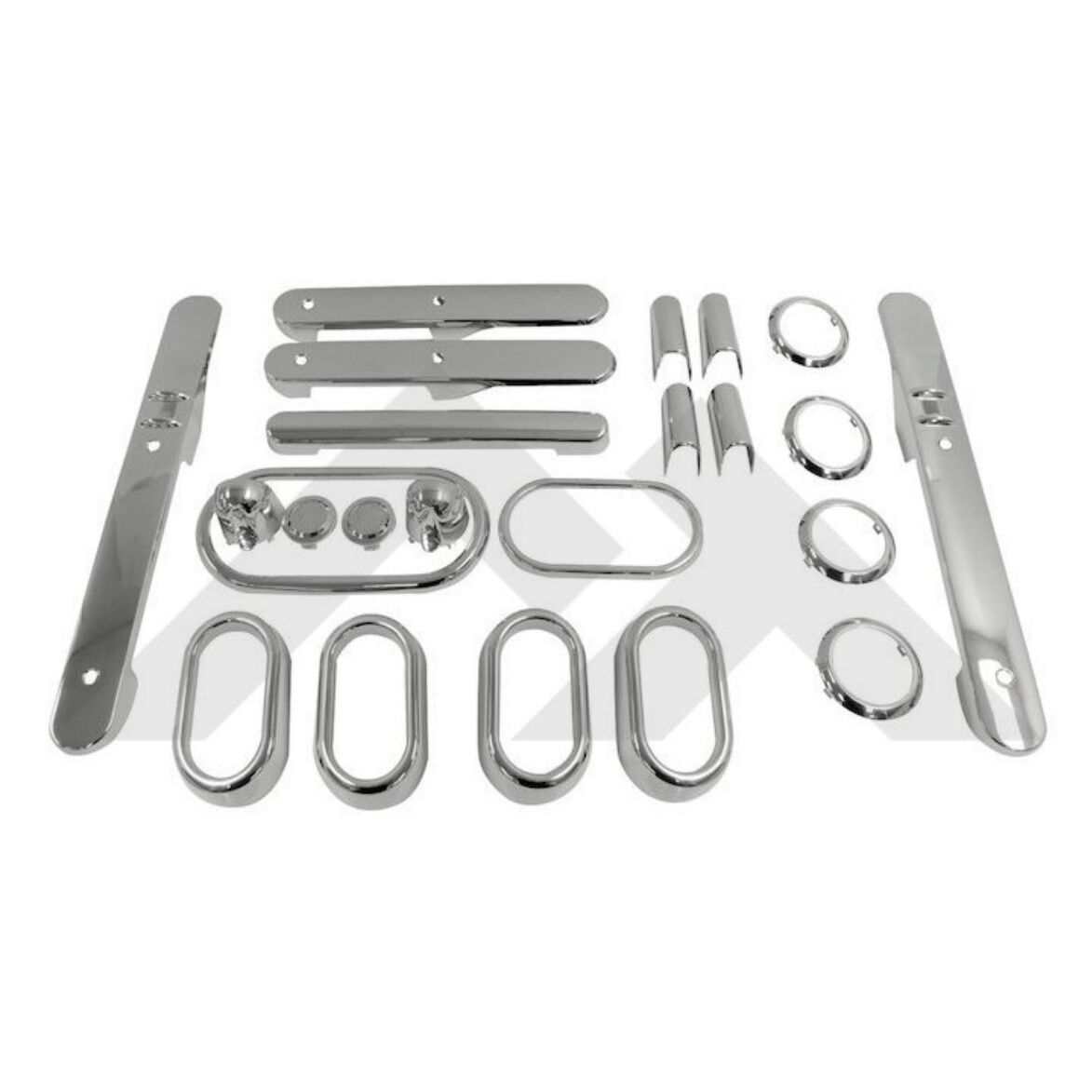 Door Handle Accents Brushed Silver for Jeep Wrangler JK 07-2010 Rough Trail