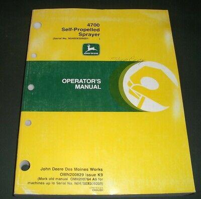 John Deere 4700 Self-propelled Sprayer Operation Maintenance Book Manual