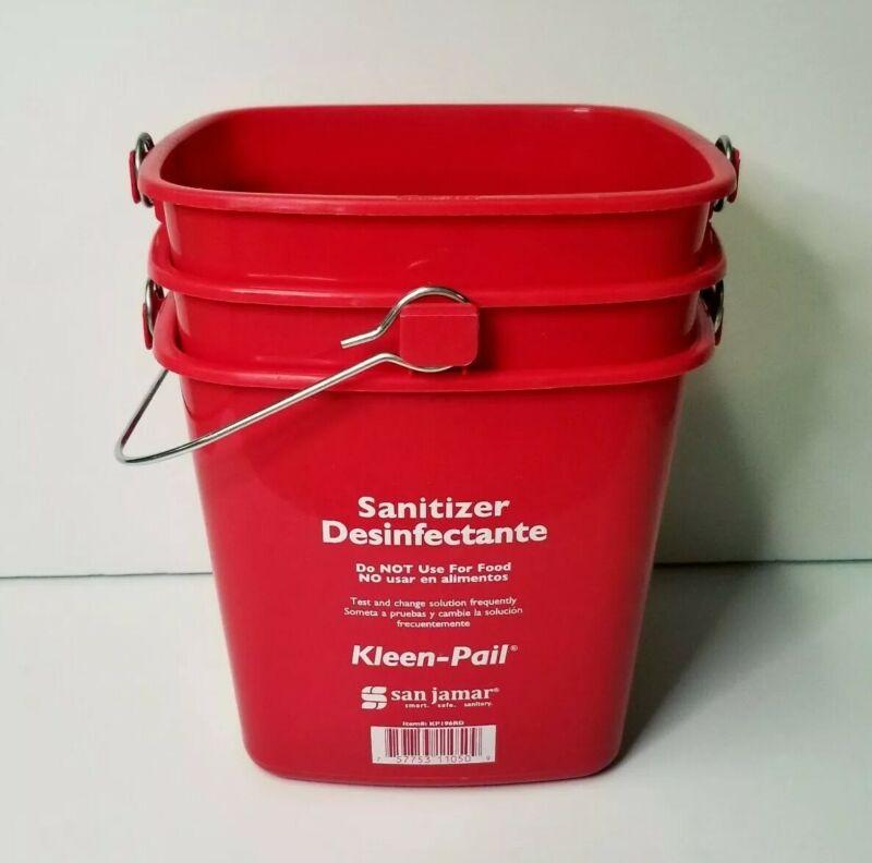 LOT OF 3 San Jamar KP97RD Kleen-Pail 6 Quart Red Sanitizer Pails bucket clean