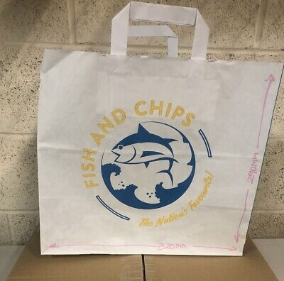 250 Medium Fish & Chips Paper Carrier BAG Flat Handle MIDFCM