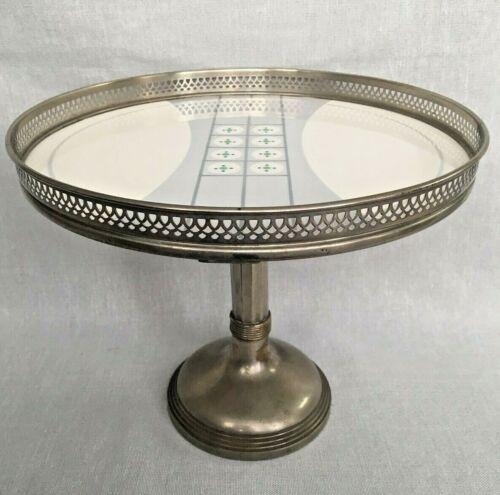 Rare Art Deco WMF Metal Ceramic Silver Plate Tazza Cake Stand Comport Retro MCM