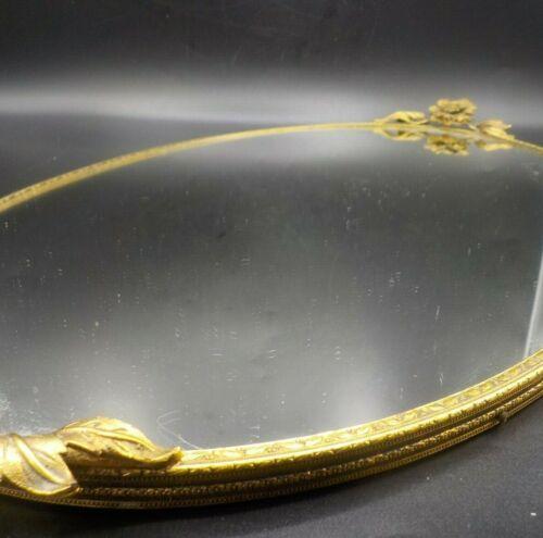 Vintage Brass Large Oval Vanity Mirror Goldtone Tray Flower End Handles Exc!