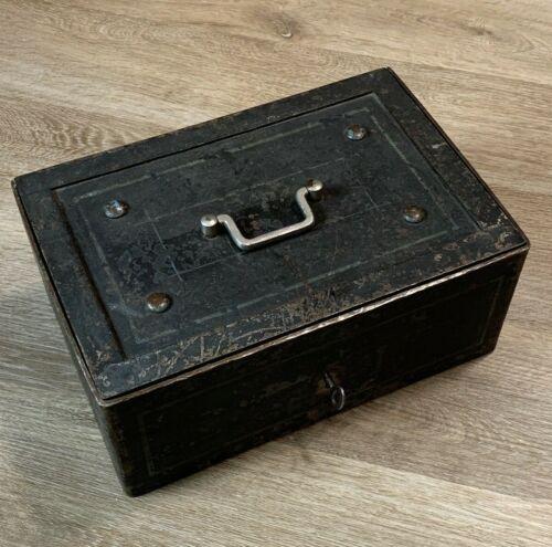 Antique Cast Iron Strong Box Stagecoach Railroad Steel Safe Money Cashbox w/Key